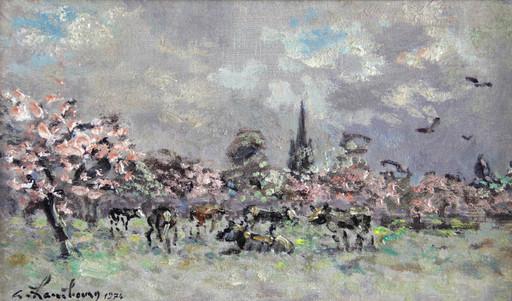 André HAMBOURG - Pintura - Les pommiers en fleurs vers Touques