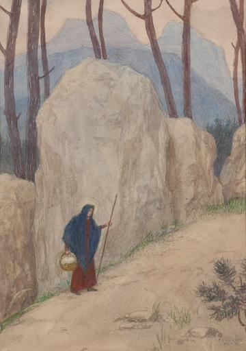 "Friedrich KÖNIG - Dibujo Acuarela - ""Female saint on her journey"" 1929, watercolor"