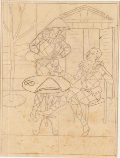 Gino SEVERINI - Drawing-Watercolor - Gli Arlecchini