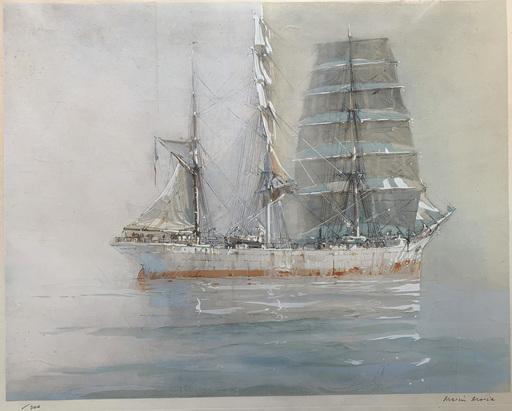 MARIN-MARIE - 版画 - Trois-mâts barque par temps calme