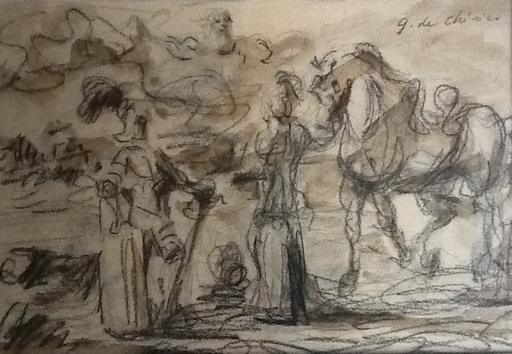Giorgio DE CHIRICO - Zeichnung Aquarell - Guerrieri Antichi