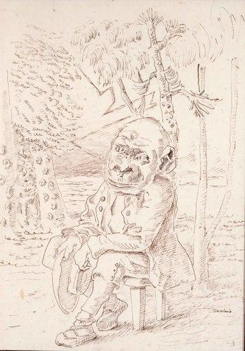 Alberto SAVINIO - Drawing-Watercolor - La saggezza di Licino