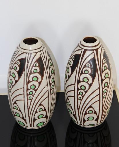 Charles CATTEAU - Ceramiche - Vases en Grès à décor floral stylisé