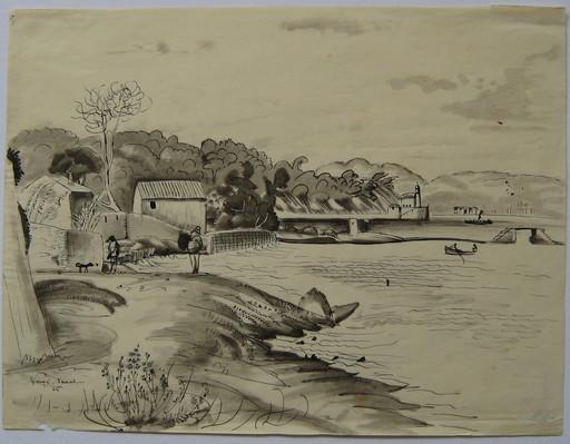 Henri VERGÉ-SARRAT - Disegno Acquarello - DESSIN 1925 SIGNÉ À LA MAIN HANDSIGNED DRAWING ART BELGE