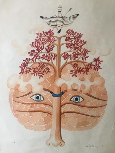 M. CUNDARI - Zeichnung Aquarell - VISAGE ET ARBRE AUX FEUILLES ROUGES