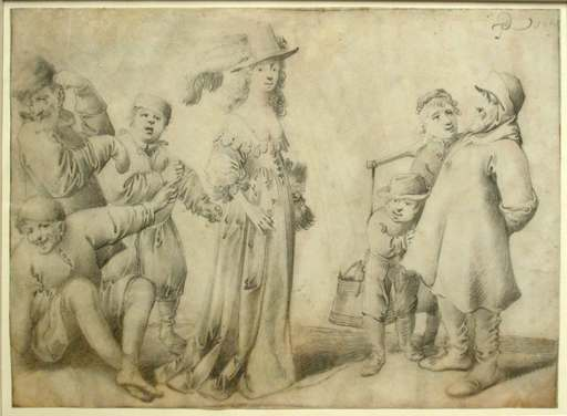 Pieter Jansz. QUAST - Drawing-Watercolor - An Elegant Woman Surrounded by six Onlookers