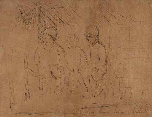 Tadeusz MAKOWSKI - Drawing-Watercolor - Three Children