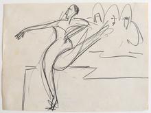 Ernst Ludwig KIRCHNER - Dibujo Acuarela - Dancer | Tänzerin