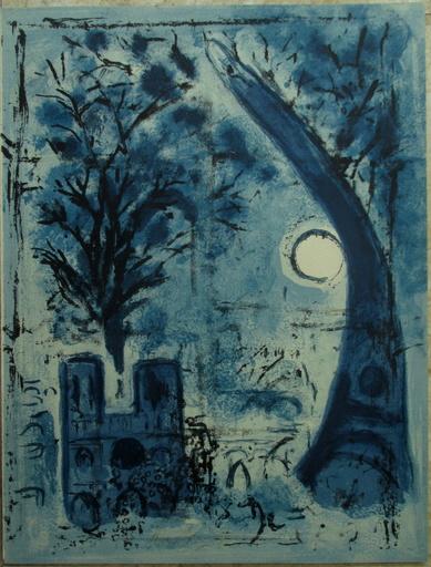 马克•夏加尔 - 版画 - Notre-Dame et La Tour Eiffel, Notre-Dame et la Tour Eiffel