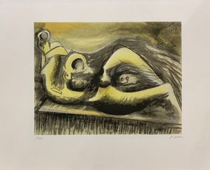 Henry MOORE - Print-Multiple - Reclining Figure Idea for Metal Sculpture