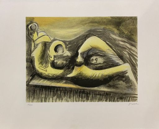 Henry MOORE - Estampe-Multiple - Reclining Figure Idea for Metal Sculpture