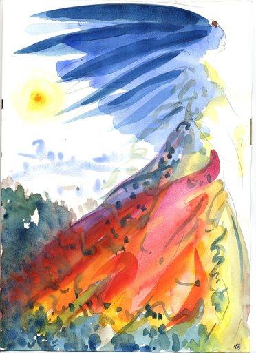 Bernard RANTY - Dibujo Acuarela - Femme oiseau