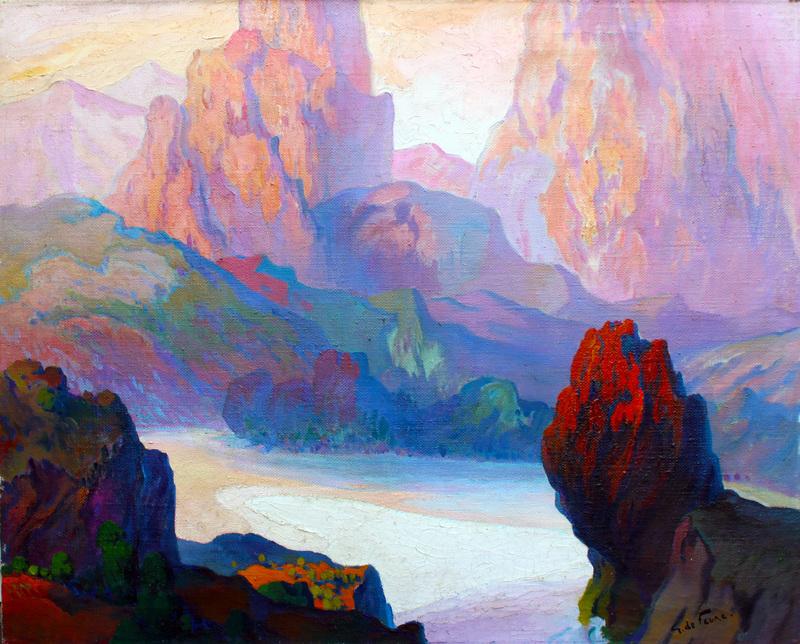 Georges DE FEURE - Peinture - rocky coastal landscape, Corsica
