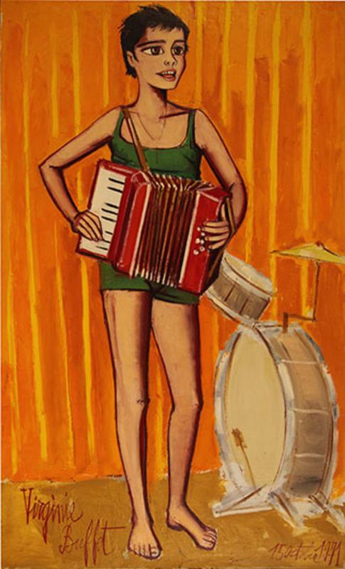 Bernard BUFFET - Peinture - Virgine a l'accordian