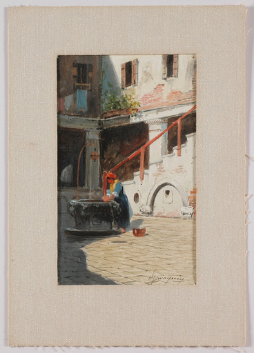 "Natale GAVAGNIN - Drawing-Watercolor - ""Venetian Yard"", Gouache, late 19th century"