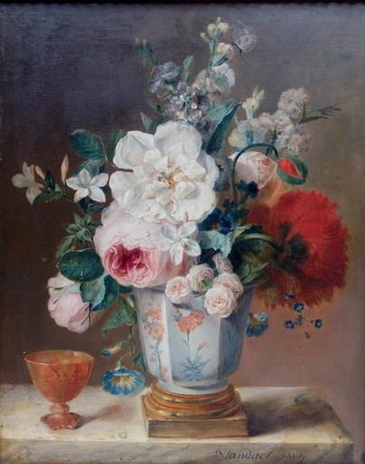 Jan Frans VAN DAEL - Gemälde - Blumenstillleben Pokal und Schmetterliqng Still life flowers