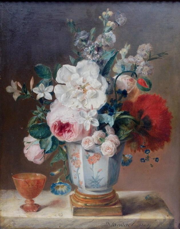 Jan Frans VAN DAEL - Pintura - Blumenstillleben Pokal und Schmetterliqng Still life flowers