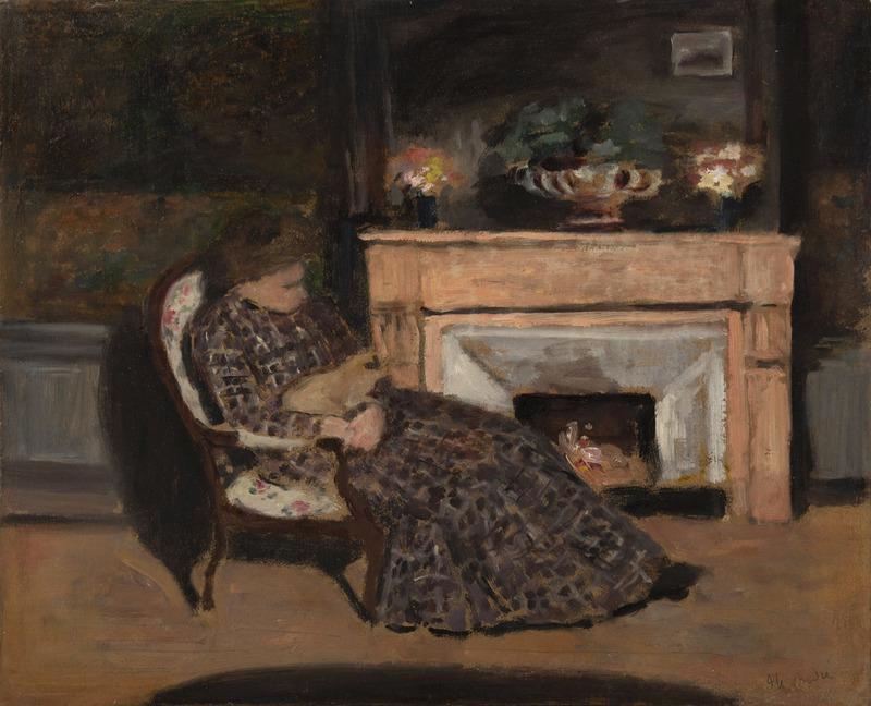 Albert ANDRÉ - Peinture - Malek, épouse du peintre dans son fauteuil avec son chat
