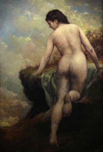 Ernest FAUT - Painting - Nu vu de dos en bord de mer