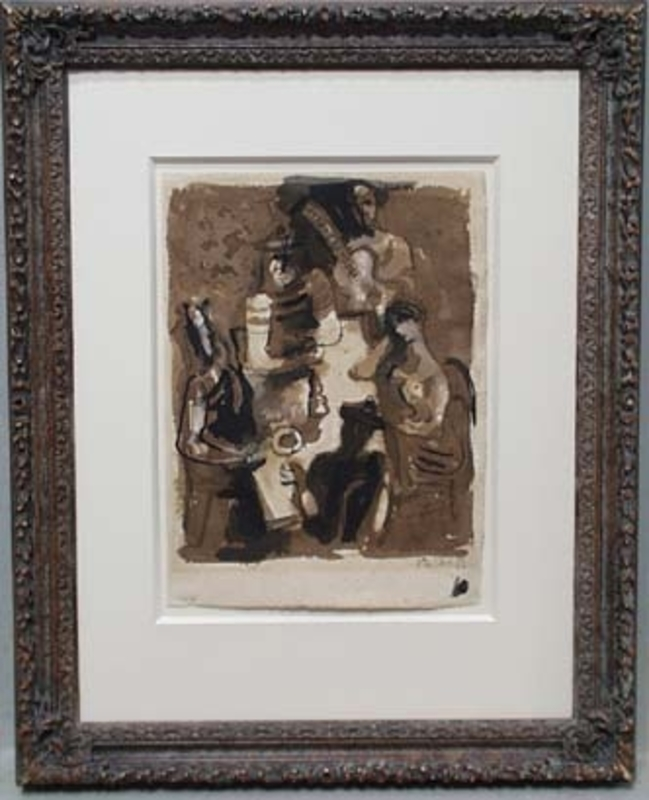 "Frantisek KALAB - Zeichnung Aquarell - ""In Tavern"" by Frantisek Kalab"