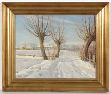 "Harald Julius Niels PRYN - Pintura - Harald Pryn (1891-1968) ""Winter in Denmark"" 1930/1940s"