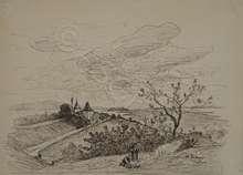 Alfred Paul Emil Etienne DUMONT - Dibujo Acuarela - Cerlier - Murten