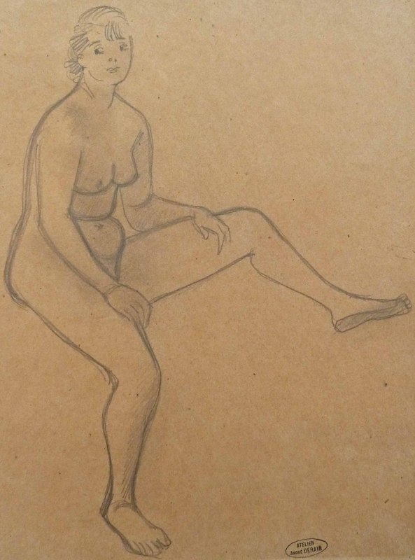 André DERAIN - Drawing-Watercolor - Sitting Nude