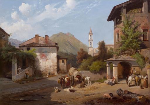 Jean Charles Joseph RÉMOND - Pintura - Bioggio sur le Lac de Lugano