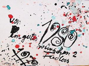 Arnold FIEDLER - Dibujo Acuarela - Neujahrsgruß 1980