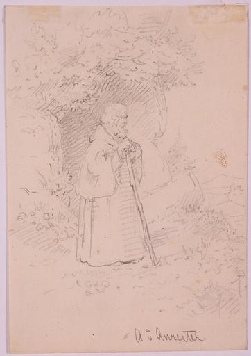 """Alois VON ANREITER - Zeichnung Aquarell - """"Hermit"""", ca.1820"""