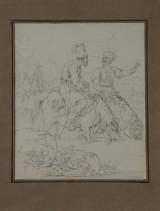 """Vincenz Georg KININGER - Zeichnung Aquarell - """"Cossacks"""", by Vincenz Kininger, early 19th Century"""