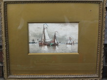 Auguste Henri MUSIN - Drawing-Watercolor - Segel boote und Windmühle