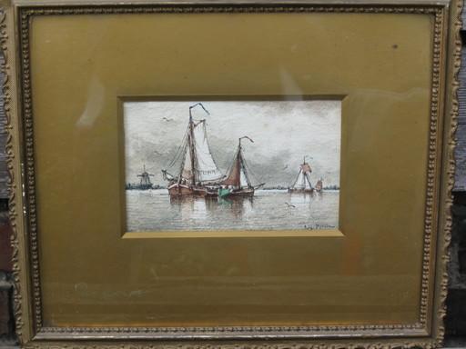Auguste Henri MUSIN - Dibujo Acuarela - Segel boote und Windmühle