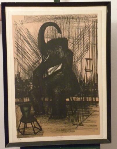 Bernard BUFFET - Grabado - de la serie de 6 : Mon cirque : l`éléphant