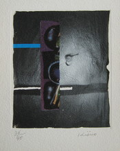 Ladislas KIJNO - Print-Multiple - LITHOGRAPHIE FROISSÉE+COLLAGE SIGNÉE CRAYON NUM/40 HANDSIGN