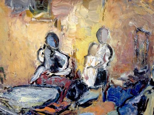 """Alkis PIERRAKOS - Gemälde - L'auberge tzigane -""""Le grand restaurant"""""""
