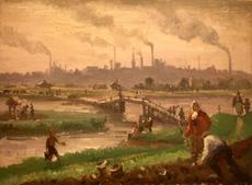 Julijs VILUMAINIS - Painting - Industrial landscape