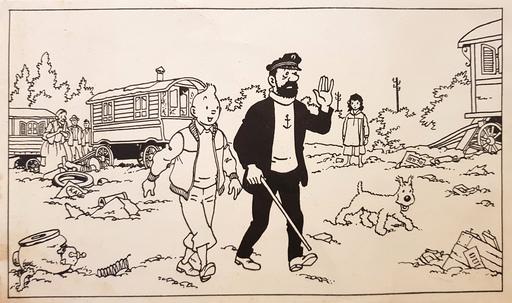 HERGÉ - Dibujo Acuarela - Illustration annonçant LES BIJOUX DE LA CASTAFIORE