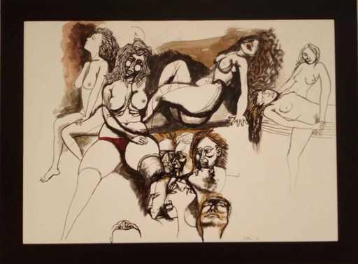 Renato GUTTUSO - Drawing-Watercolor - Senza titolo
