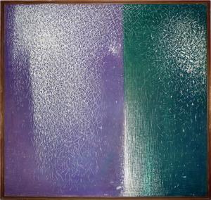 Mario DELUIGI - Pintura - Grattage viola-verde