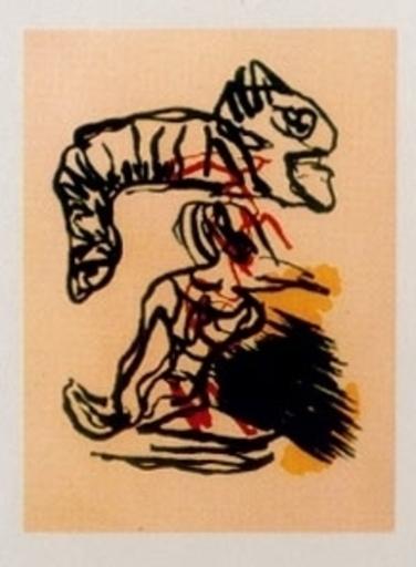 Karel APPEL - Grabado - Salto sobre la cabeza