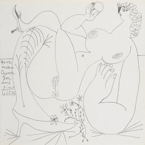 Pablo PICASSO - Drawing-Watercolor - Femme nue aux souliers