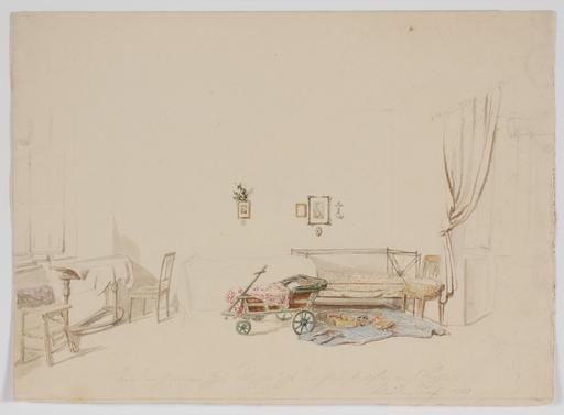 """Frans HEINRICH - Dibujo Acuarela - """"Interior"""" 1852, watercolor"""