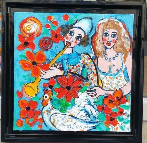 RAYA - Peinture - Arlequin à la flûte jaune