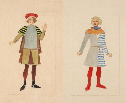 "Rudolf HAFNER - 水彩作品 - ""Two stage costume designs"" watercolors, 1920s"