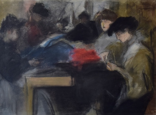 Isaac Lazarus ISRAELS - Drawing-Watercolor - Seamstress at the Paquin Studio