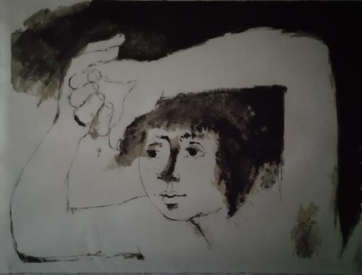 Roger SOMVILLE - Grabado - Les bras sur la tête