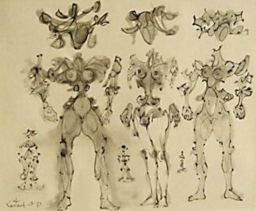 Lucien COUTAUD - Disegno Acquarello -  « Femmes fleurs »