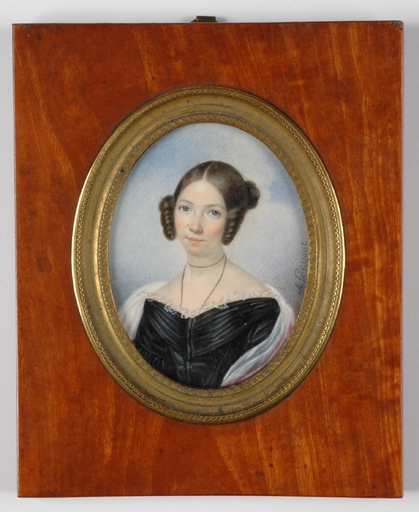 """Adèle POISSANT - Drawing-Watercolor - """"Portrait of a young woman"""" miniature on ivory, 1840's"""