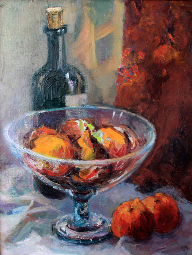 Levan URUSHADZE - Painting - Still life with a bottle of wine